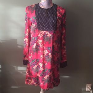 Maeve Anthropologie 0 Pink Floral Bird Dot Dress
